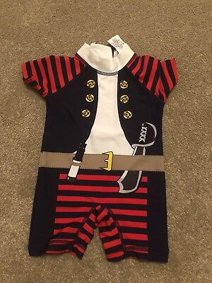 Baby Boys Next Pirate Design Summer All In One UV Swim Suit Age 3-6 Months VGC