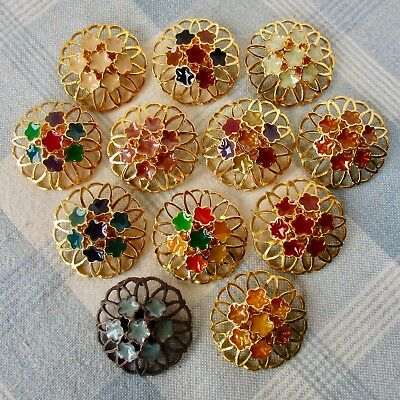 Set 12 Large 1-Piece Cast White Metal Flower Buttons w Enamel & Great Openwork