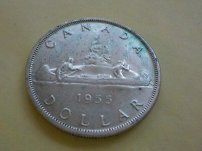 1955  -  $1 - One Dollar .800 Silver Canadian Coin - Elizabeth II