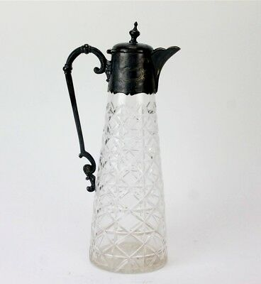 Antique Victorian Silver Plate Mounted Cut Crystal Wine Claret Pitcher Jug PKE
