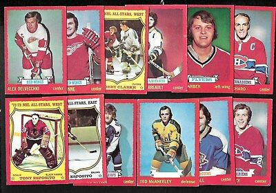 1973-74 Opc O Pee Chee Card Dark Gray Back Error & Starter Set 1-132 See List