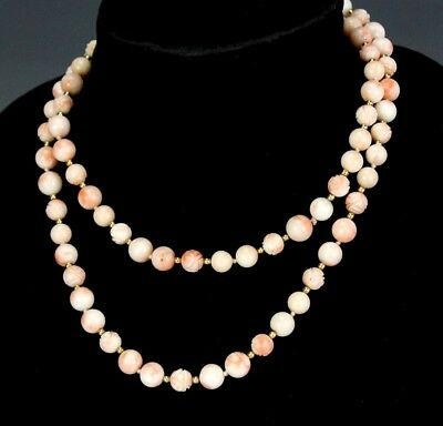 """Vintage Chinese Export Carved Salmon Pink Coral 14k Gold Bead 34"""" Necklace SJS"""
