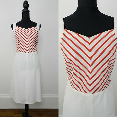 NAUTICAL VINTAGE 1970s RETRO WHITE RED CHEVRON STRIPE DRESS UK 12 Fr 40 MOD