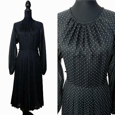 RETRO VINTAGE 1970s BLACK WHITE POLKA DOT SPOT PLEATED SECRETARY DRESS UK 12 40