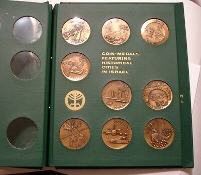 9 piece Complete Set COIN MEDALS Historical Cities in Israel bronze in Album