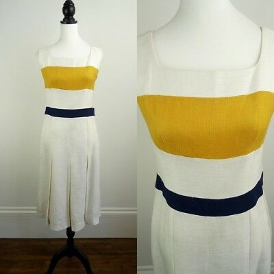 ITALIAN DESIGNER VINTAGE 1970s RETRO WHITE YELLOW BAND PLEAT DRESS UK 12 Fr 40