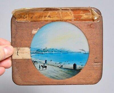 Wonderful Large Antique Painted Early Magic Lantern Slide, Scotland Dunoon Bay