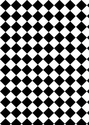 dolls house flooring check diamond black/white small x2