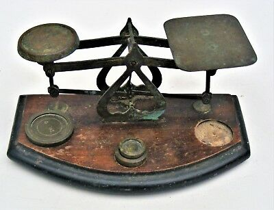 1930s Vintage Postal Scales. Brass with Weights (1 missing)