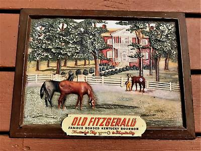 Old Fitzgerald Kentucky Bourbon Whiskey Embossed Stand Up Counter Sign