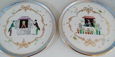 Two Pate de limoges Plates Made in France for Saks Fifth Ave R Peynet gold trim
