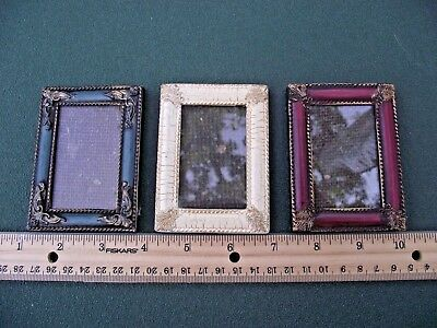 3 Vintage Looking , Miniature Picture Frames , Dollhouse  Items