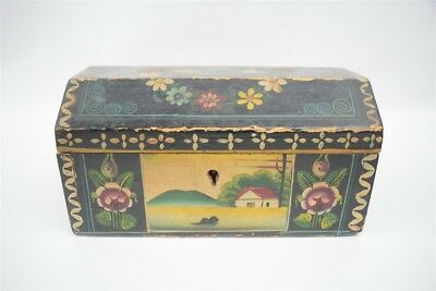 Beautiful Vintage Hand Crafted/Painted Folk Art Trinket Box Swans Landscapes