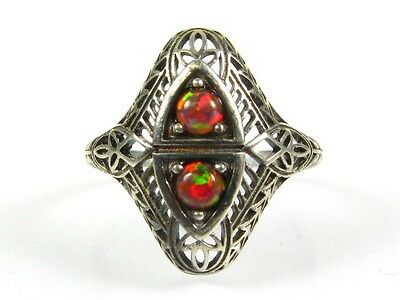 .25ctw Natural Round Cut Dark Opal Victorian Deco Sterling Filigree Ring s7 115a