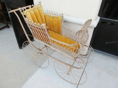 *****sale**** 19Th Century Victorian Wicker Stick & Ball Baby Doll Buggy