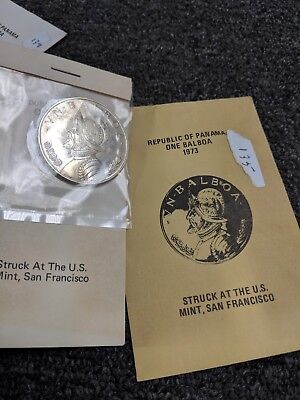 1973-S Republic Of Panama 90% Silver Proof Unc. One Balboa Coin US Mint - #135