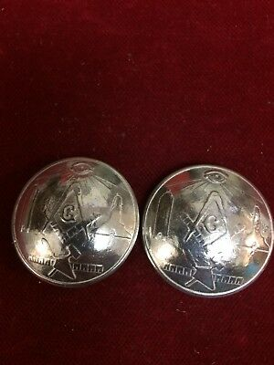 Conchos: Pair of Sterling Masonic tokens, Post and screw