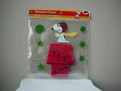 Snoopy Christmas Peanuts Window Cling Jelz 11 piece Red Baron Large Flying Ace
