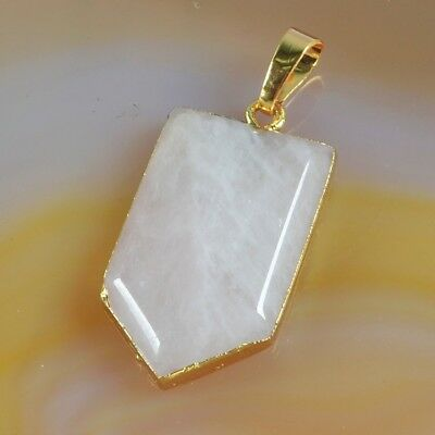 Natural Rose Quartz Faceted Pendant Bead Gold Plated B073780