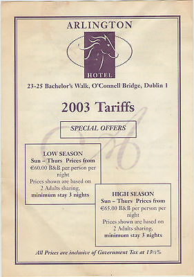 The Arlington Hotel Bachelors Walk O'connell Bridge Dublin 2003 Tariffs Sheet