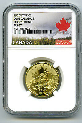 2016 Canada $1 Lucky Loonie Rio Olympics Ngc Ms67 Dollar Landscape Label