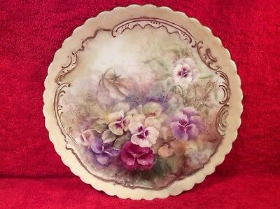 Plate Antique Hand Painted Limoges Pansy Flowers Cabinet Plate c.1900, L277