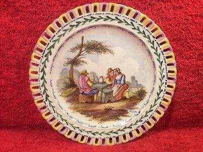 Plate Antique Hand Painted French Faience Plate c.1800's, ff678