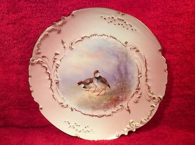 Plate Antique Limoges Hand Painted  Quail Game Bird Plate c.1894-1906, L257