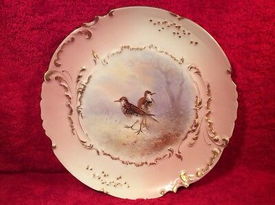 Plate Antique Hand Painted Limoges Signed Game Bird Plate c.1894-1906, L258