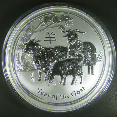 2015 P Australia $10 10 oz Lunar Year of the Goat Silver .999 fine BU Coin