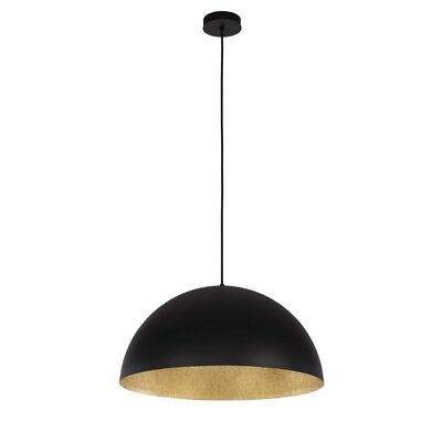 "Paris Prix - Lampe Suspension Design ""tuba"" 50cm Noir & Or"
