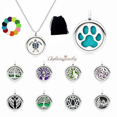 1Set Diffuser Locket Aromatherapy Essential Oil Pendant Necklace+Chain+Gift bag