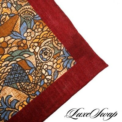 NWT Finamore Napoli Silk Wool Stained Glass Merlot Piped Pocket Square NR A1P