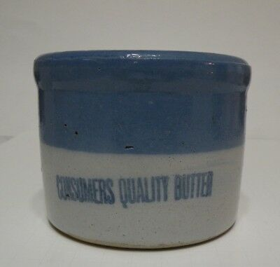 small blue and white CONSUMERS QUALITY BUTTER crock