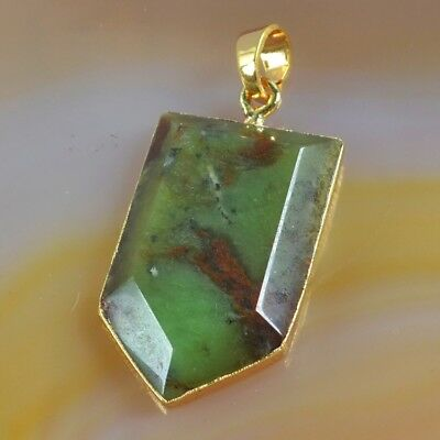 Australia Natural Chrysoprase Faceted Pendant Bead Gold Plated B073802