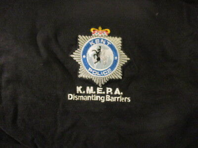 Black KENT ENGLAND POLICE Embroidered Logo T Shirt XL Dismantling Barriers