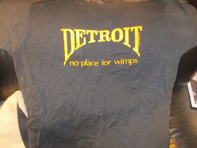 Vintage 1989 Black DETROIT No Place For Wimps T Shirt XXL Screen Stars 50% 50%
