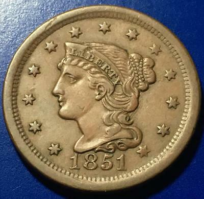 1851 Braided Hair Large Cent Extra Fine Details Rev Issues