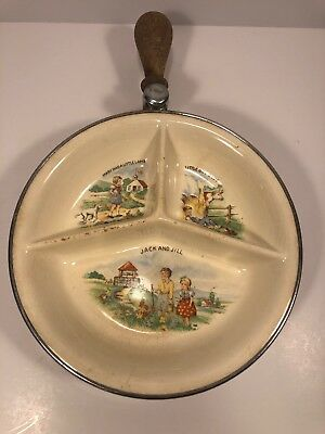 Vintage FARBERWARE Divided Warming Baby Childrens Feeding Dish Tray Wood Handle