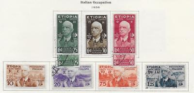 9 Ethiopia Italian Occupation Stamps from Quality Old Album 1936