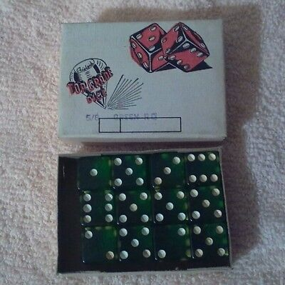 Vintage Box Of 12 Green Crisloid Top Grade Dice 5/8 Inch