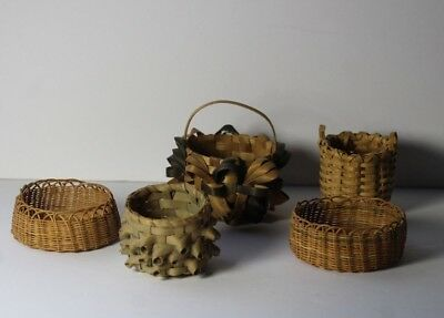 Lot of 5 Vintage Native American Sweetgrass and Dyed Woven Bent Wood Baskets