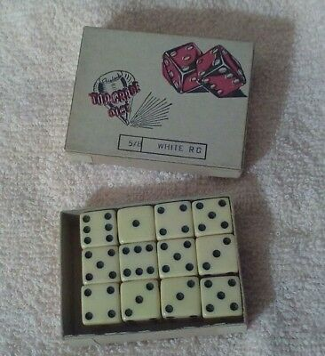 Vintage Box Of 12 White Crisloid Top Grade Dice 5/8 Inch