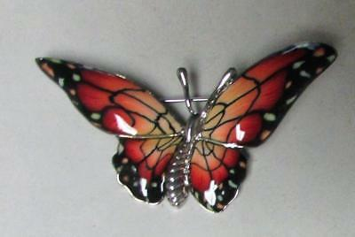 Vintage 70's Large Butterfly Enamel Pin Brooch Red Yellow Black