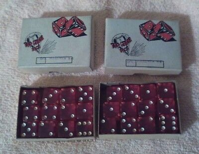 2 Vintage Boxes Of 12 Magenta Red Crisloid Top Grade Dice 5/8 Inch 24 Total