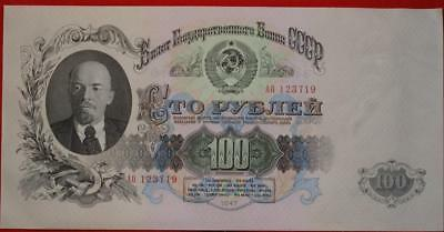Uncirculated 1947 Russia 100 Rubles Note