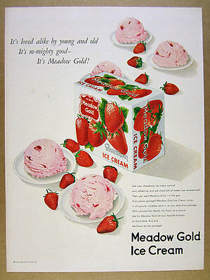 1950 Meadow Gold Strawberry Ice Cream Beatrice Foods vintage print Ad