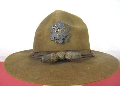 pre-WWI US Army M1911 Montana Peak Campaign Hat - w/Officer's Hat Cords 5-Stitch