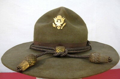 WWII Era US Amry M1911 Montana Peak Campaign Hat - Officer's Hat Cords & Emblem
