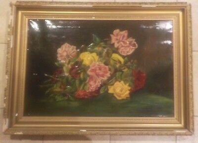 Early Still Life Flowers Roses Large  Canvas Gold Gilt  Signed A. Mulligan